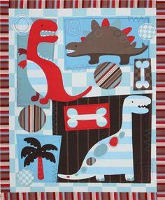 blue dinosaur fabric Dino Friends Panel