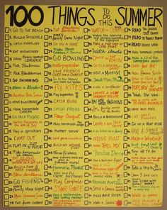 100 cosas que hacer en el verano. Haz tu Propia Lista - 100 things to do in the summer. Make Your Own List Summer Of Love, Summer Time, Summer Ideas, Summer Things, Fun Ideas, Summer 2014, Summer Fun List, Summer Blues, Summer Goals