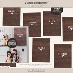 3x4 Woodgrain Month Cards - 2014 Edition by paislee press