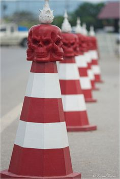 Traffic Cones at Wat Rong Khun, The White Temple in Chiang Rai, Thailand