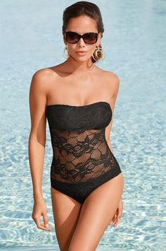 for those who are too shy to show some skin during summer try a one piece with lace, the block color wear a bikini should be covered with a lace stomach will surely make you feel confident without you feeling too exposed