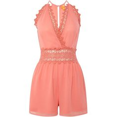 Lipsy Lace playsuit ($44) ❤ liked on Polyvore featuring jumpsuits, rompers, playsuits, coral, women, lace romper, playsuit romper, red romper, lace rompers and red lace romper
