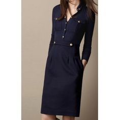 Solid Color Turn-Down Collar Single-Breasted Long Sleeves Slimming Women's Dress, PURPLISH BLUE, M in Long Sleeve Dresses | DressLily.com