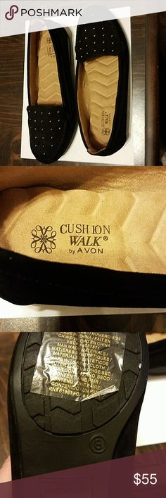 Avon Cushion Walk Studded suede shoes sz 8 BNWT Avon Cushion Walk shoes, gold studs on the front, the shoe is black suede, padded cushion insoles Avon Shoes