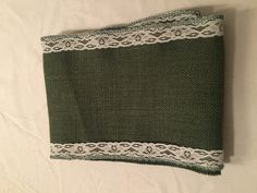 """7"""" Green Burlap Ribbon with White Floral Lace - 6 Foot Length"""