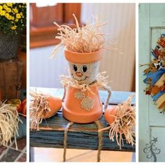 Make your home stand out in a sea of pumpkins and gourds with one of these cute DIY scarecrows.