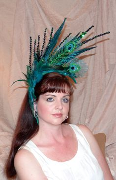 Peacock Show Girl Headdress by Coquettishly Adorned