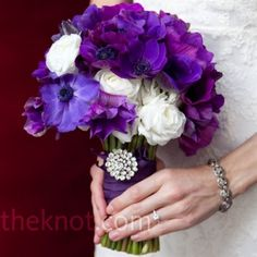 Perfect Purple Bouquets Perfect Purple Bouquets- Purple Bouquet With Brooch – The Knot