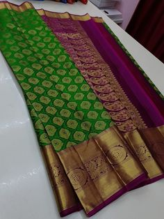 Bridal Sarees South Indian, Indian Silk Sarees, Wedding Silk Saree, Cutwork Blouse Designs, Bridal Blouse Designs, Blouse Desings, Silk Sarees With Price, Wedding Saree Collection, Half Saree Designs