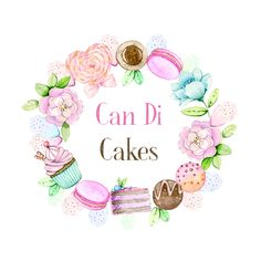 Bake it Pretty! by: Leng Watercolor Food, Wreath Watercolor, Pastry Logo, Baking Logo, Logo Cookies, Bakery Logo Design, Logos Cards, Cake Logo, Fondant Figures