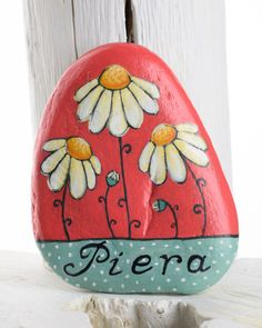 Hand-painted stones with flowers or cats and your name by Bidigo!!