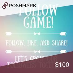 Want more followers? Follow game! Want more followers?? 1️⃣Like this listing 2️⃣ Follow EVERYONE who liked this listing 3️⃣share this post to continue the game Bags