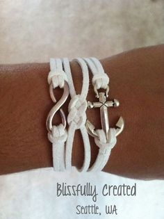 White Nautical Bracelet with ANCHOR and INFINITY symbol