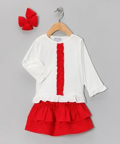 Take a look at this Red Corduroy Ruffle Skirt Set - Infant, Toddler & Girls by Molly Pop Inc. on #zulily today!