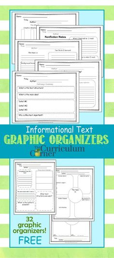 Informational Text Graphic Organizers for 4th & 5th grades free from The Curriculum Corner