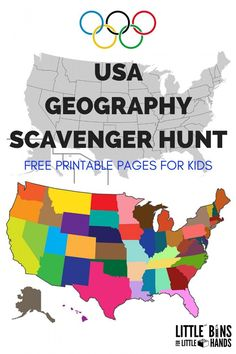 United States geography scavenger hunt printable pages for kids to go along with a Summer Olympics theme. Learn about the country, your state, a new state and the states that have hosted the Olympic games! Geography Activities, Geography For Kids, Geography Lessons, World Geography, Summer Activities, Teaching Geography Elementary, Geography Quotes, Geography Revision, Geography Classroom