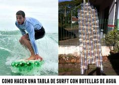 tabla de surft con botellas de agua