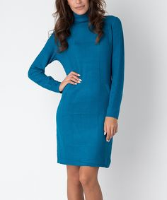Love this Yuka Paris Turquoise Turtleneck Sweater Dress by Yuka Paris on #zulily! #zulilyfinds