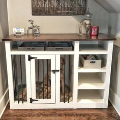 If you're crate training your new young puppy, you'll want to find the best canine crates for . Choosing the ideal crate for your puppy depends on y. Furniture, Crate Bench, Selling Furniture, Kennel Diy, Crates, Wood Crate Shelves, Crate Furniture, Crate Table, Dog Crate Furniture