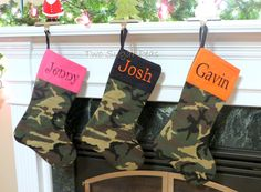 Personalized Camo Camouflage Christmas Stocking by twosugarpeas, $28.00