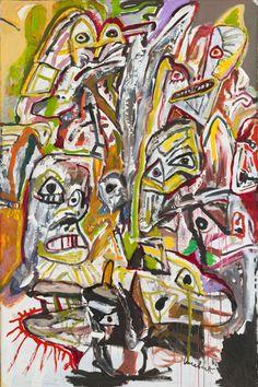 Lucebert (1924-1994) was een Nederlands dichter en schilder. In de jaren zestig legde hij zich vooral toe op de beeldende kunst, die destijds 'figuratief-expressionistisch' genoemd werd. Zijn schilderwerk, dat vooral in het begin sterk beïnvloed was door Cobra, geeft blijk van een vrij pessimistisch wereldbeeld.   Het Stortbad   1988