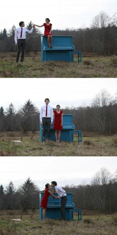 Wow, it takes a dedicated photographer to move a player piano to a field just for a photo shoot!