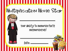 Multiplication Fact Memorization - Motivating and Fun - Math Fact Mastery - Award Certificate