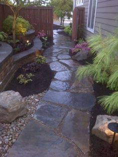 The garden pathway is a good place for your walks. Moreover, they are also a great decorative element to further enrich your landscape. So you cannot ignore their aesthetic value in garden designs. In a sense, a unique and charming garden path may reflect Flagstone Patio, Backyard Patio, Desert Backyard, Patio Decks, Wood Patio, Large Backyard, Small Patio, Sloped Backyard, Rooftop Patio