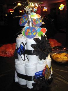 Adult Diaper Cake for 50th Birthday. Mom and Dad are turning 50 soon definitely doing this for them!