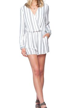 Bordeaux is a cross front long sleeve, relaxed fit, soft to the touch, white and grey stripe romper. 100% Viscose Twill, fit is running true to size but relaxed up by the bust are and a snap closure. Pairs perfectly with heels or gladiator sandals.   Bordeaux Romper by Gentle Fawn. Clothing - Jumpsuits & Rompers - Rompers California