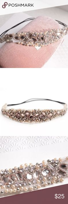 HOLD for CHRISTI only pink and pearl headband  Adorable embellished headband / boho headpiece can be wrapped around wrist  pearl and pink / cream crystal like beads    a beautiful way to pull hair back Accessories Hair Accessories