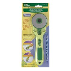 Clover 60mm Rotary Cutter from @fabricdotcom  This 60mm rotary cutter features a functional design that fits beautifully in the hand. Cuts fabric with just the right amount of blade expose, whether held upright or at an angle. Replacement blades- 0334088