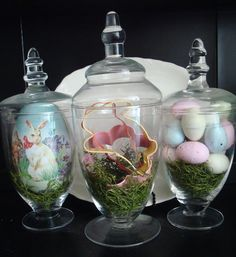 I adore all of this lady's Easter decor, but especially these Easter Apothecary jars. Worth a peek!