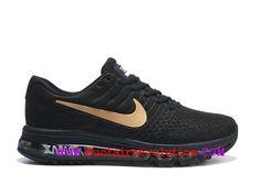 newest e9ef5 dc864 Nike Air Max 2017 Coussin Dair Chaussure de Running Pas Cher Pour Homme Or  noir 918091