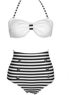 High Waisted Vintage Halterneck Cross Stripe Six Buttons Swimsuit For Women Color: BLACK, BLUE Size: S, M, L, XL Category: Women > Swimwear   Gender: For Women  Material: Polyester  Bra Style: Padded  Support Type: Wire Free  Pattern Type: Striped  Swimwear Type: Bikini  Waist: High Waisted  #highwaistedswimsuitshops #highwaisted #swimsuitshops #Stripeswimsuit #bridgat.com