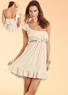 $90 Vestido Bege Ombro Único - Quintess - Moda Feminina Mini - Moda Feminina - - Quintess - Moda Feminina