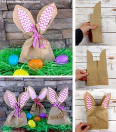 Easter Bunny Treat Bags Materials: Paper lunch bags Pink card stock (pain or designed) or construction paper Glue stick Ribbon Scissors Directions: Fold lunch bag in half (hot dog style) Trim the top half of the bag from the outside. Bunny Party, Easter Party, Easter Gift, Easter Table, Easter Eggs, Bunny Birthday, Birthday Basket, Birthday Diy, Birthday Card Design