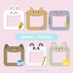 Set of six cute animal frames