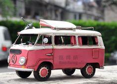 包邮大众巴士露营车 超可爱房车模型 复古手工铁皮老爷车模型居-淘宝网