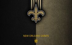 Download wallpapers New Orleans Saints, 4k, american football, logo, leather texture, New Orleans, Louisiana, USA, emblem, NFL, National Football League, Southern Division