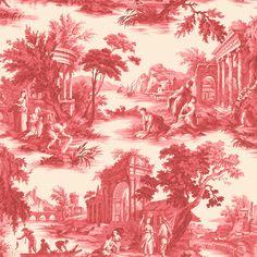 """Papier peint esprit Toile de Jouy """"Villandry"""" rouge de la collection Folie de Cole and Son."""