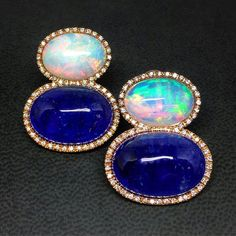 @gioielleria_martini. Earrings with opal and tanzanite set in rose gold and diamonds