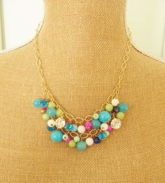 Multi Color Jade and Rhinestone Cluster Necklace Aqua Blue, Turquoise, Fuchsia Pink, Mint Green, White, Navy, Lime Bauble Cluster Necklace