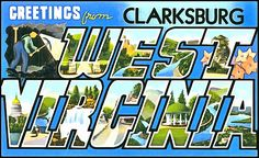 Greetings From Clarksburg West Virginia- We have over 100 vintage postcards that can be printed as posters, notecards, T-Shirts, tote bags, pillows, cell phone covers, beach towels and a lot more really fun and exciting products! Check them all out, collect them all! Visit FASGallery.com