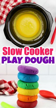 This homemade slow cooker play dough recipe is super easy and creates the most fabulously soft and smooth sensory dough ever! It will be your new go-to recipe! If your kids love play dough then you have to try this easy crock pot play dough recipe today! Easy Playdough Recipe, Homemade Playdough, Slime Recipe, Homemade Paint, Homemade Recipe, Slow Cooker Recipes, Crockpot Recipes, Vegan Recipes, Make Your Own Playdough