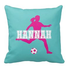 You will lovethis soccer player silhouette throw pillow, which includes your name! You can customize it with any colors from our palette or order it in the hot pink, white and pool color combo shown.  This custom accent pillow is the perfect room decor for any girl or teen who loves to play soccer.  Great sports themed Christmas present or birthday gift for athletes.