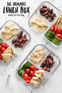 This Hummus Lunch Box is a cold lunch classic. With almost zero prep work, this is the fastest, easiest no-cook lunch around. Budgetbytes.com Lunch Snacks, Lunch Recipes, Healthy Recipes, Lunch Box, Bento Box, Box Lunches, Dinner Recipes, Make Ahead Lunches, Prepped Lunches