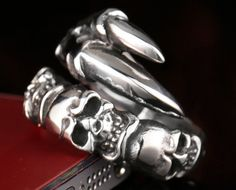 Mens skull ring Mens Stainless steel skull ring by miajewelery