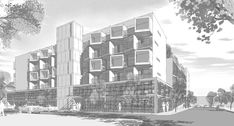 """Study of the north elevation and street-level entry, from """"Using Sketchup to design a contemporary multi-story housing project for a Boston neighborhood."""""""