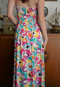 Vintage 80s bright abstract midi dress 14 16 DRS159 | Bang Bang | ASOS Marketplace